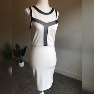 White Bodycon Dress with Black Mesh Details
